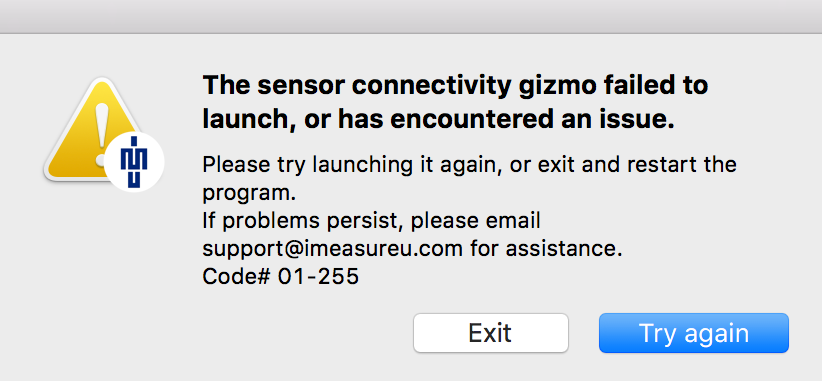 The sensor connectivity gizmo failed to launch, or has encountered an issue.